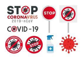 Stop coronavirus campaign icon set