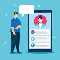 Tecnología de telemedicina con doctora en un teléfono inteligente y hombre enfermo