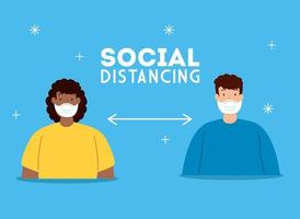 Coronavirus social distancing campaign with people wearing face masks vector