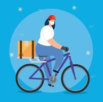 delivery worker with face mask on a bike vector