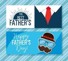 ser tarjetas de feliz dia del padre con decoracion vector