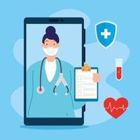 Tecnología de telemedicina con doctora en un teléfono inteligente e iconos médicos