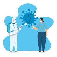 Stop coronavirus campaign with people vector