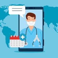 Tecnología de telemedicina con médico en un teléfono inteligente e iconos médicos.