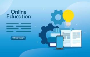 Banner de tecnología de educación en línea con teléfono inteligente e iconos vector