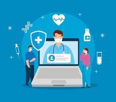 Tecnología de telemedicina con médico en una computadora portátil y personas. vector
