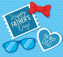 happy fathers day card with eyeglasses and bow tie vector