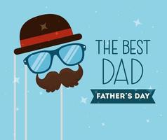 happy fathers day card with hipster accessories decoration vector