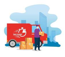 delivery worker with face mask, a van and packages vector