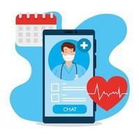 Tecnología de telemedicina con médico en un teléfono inteligente e iconos médicos. vector