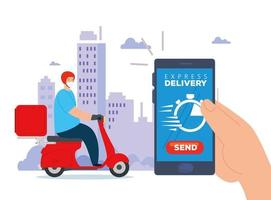 smartphone with app express delivery and worker with face mask vector