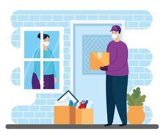 trabajador con mascarilla entregando paquetes vector