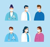 group of medical staff and sick people wearing face masks vector