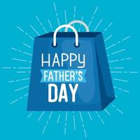 happy fathers day card with shopping bag vector