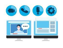 tecnología de educación en línea con computadoras e íconos vector