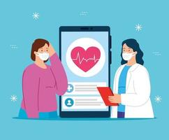 Tecnología de telemedicina con médico y mujer enferma.