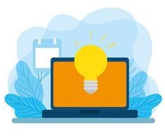 laptop with light bulb and calendar vector