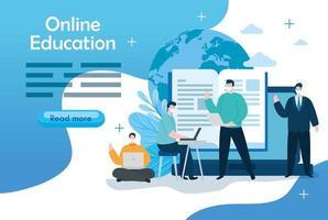 Hombres de tecnología de educación en línea con plantilla de banner de iconos vector