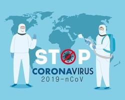Stop coronavirus campaign with people in hazmat suits vector