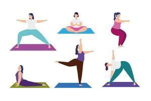 set scenes of women practicing yoga vector
