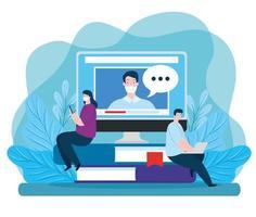 pareja de tecnología de educación en línea vector