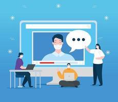 personas de tecnología de educación en línea con computadora vector