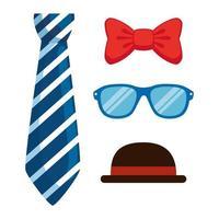 conjunto de iconos de accesorios hipster vector