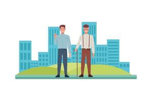 young and old men in the city vector