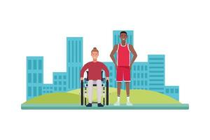 Hombre en silla de ruedas y personajes de jugador de baloncesto. vector