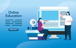mujeres de tecnología de educación en línea con computadora vector