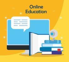tecnología de educación en línea con computadora e iconos vector