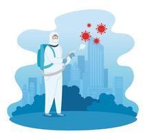 Stop coronavirus campaign with man in a hazmat suit vector