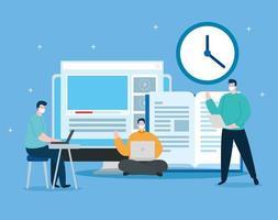 hombres de tecnología de educación en línea con computadora vector