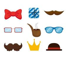 set of hipster accessories icons vector