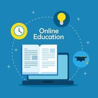 tecnología de educación en línea con laptop e íconos vector