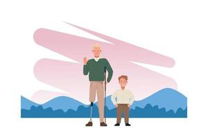 man with prosthetic leg and short man characters vector