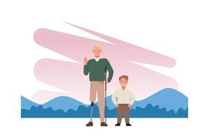 hombre con pierna protésica y personajes de hombre bajo vector