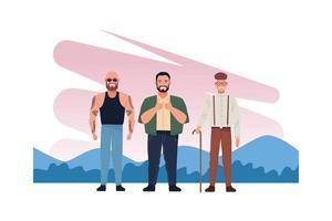 bald, big, and old men characters vector