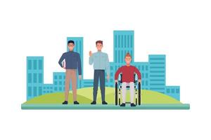 nerd with skinny man and man in wheelchair characters vector