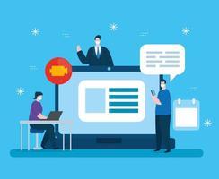 gente de tecnología de educación en línea vector