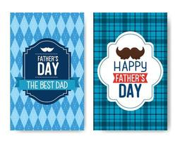 ser cards of happy fathers day with decoration vector