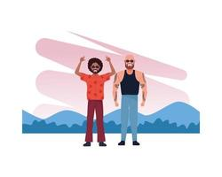 cool guy and bald man with tattoos characters vector
