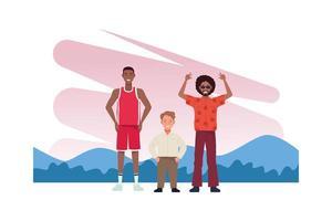 chico genial, jugador de baloncesto y personajes de hombre bajo vector