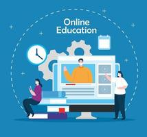 online education technology people with computer vector