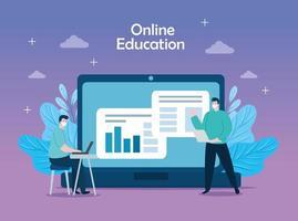 hombres de tecnología de educación en línea con iconos vector
