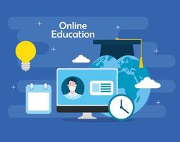 online education technology with computer and icons vector