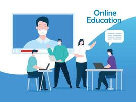 grupo de personas en educación en línea vector