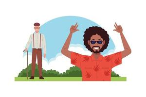 cool black man and old man with cane characters vector