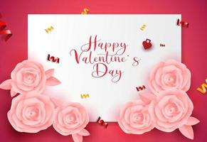 Valentine's Day greeting card design sale banner,poster background with Pink roses origami shape. vector
