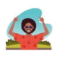 cool black man wearing sunglasses character vector